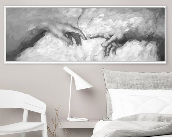 """Michelangelo's Creation of Adam - black and white detail 60""""x20"""" panoramic version. Gallery wrap canvas wall art print with or without frame"""