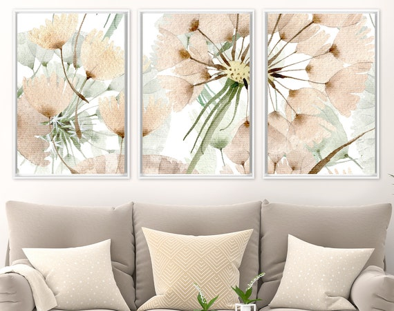 Dandelion wall art, watercolor flowers painting - set of 3 ready to hang large botanical canvas wall art prints with or without float frames