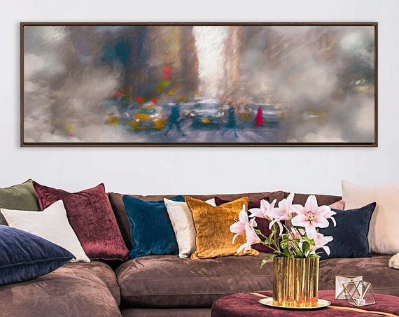 Foggy New York City street view art, oil painting on canvas - ready to hang large panoramic canvas art prints with or without floater frames
