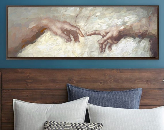 Michelangelo's Creation Of Adam oil painting - ready to hang large panoramic gallery wrap canvas wall art prints with or without float frame