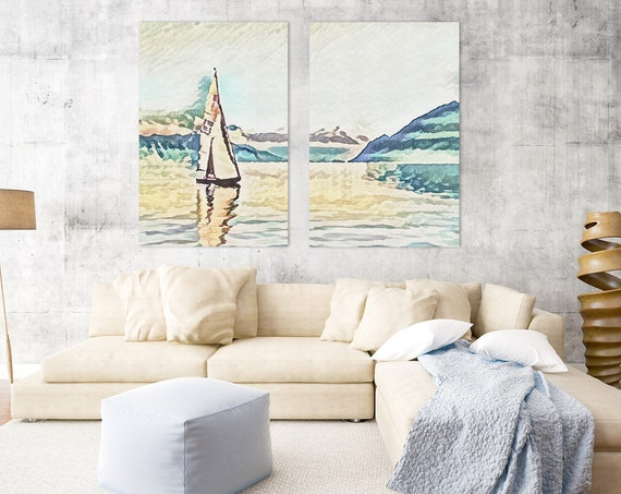 Sailboat painting - large nautical watercolor wall art prints. Landscape painting, set of 2 art posters, or ready to hang framed canvas art.