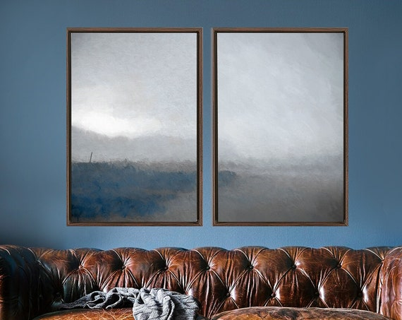 Abstract landscape painting on canvas - set of 2 large blue & gray coastal wall art prints, gallery wrap canvas with or without float frames