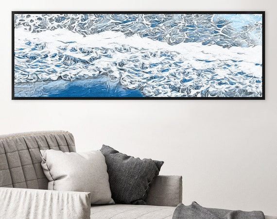 Wave, watercolor seascape painting - blue coastal wall art, large panoramic gallery wrap canvas wall art print with or without floater frame