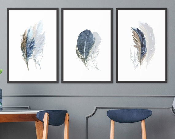 Feathers, watercolor painting - set of 3 ready to hang gallery wrap canvas wall art prints, with or without floater frames in three colors.