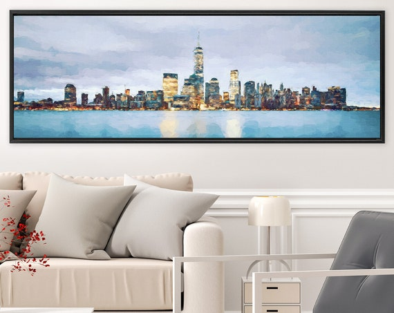 New York, night light skyline art, acrylic landscape painting on canvas - ready to hang large canvas wall art prints with or without frames.