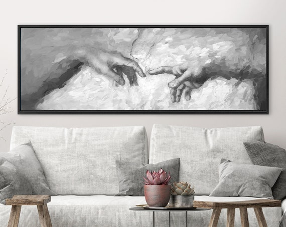 "Michelangelo's Creation of Adam - black and white detail 60""x20"" panoramic version. Gallery wrap canvas wall art print with or without frame"