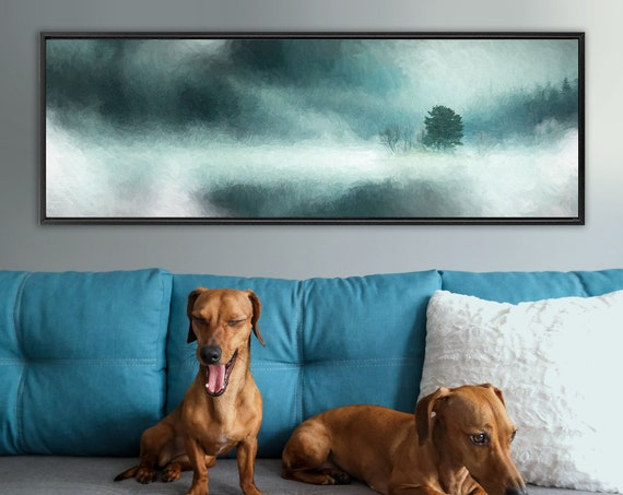 Storm, teal landscape, oil painting on canvas - ready to hang large panoramic canvas wall art prints with or without external floater frames