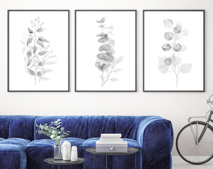 Featured listing image: Eucalyptus watercolor painting, minimalist set of 3 large black and white botanical wall art prints. Canvas art. Metal wall art. Watercolor.