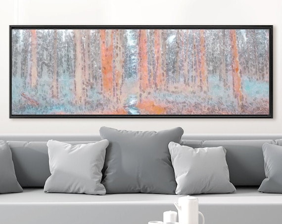 Autumn forest landscape oil painting on canvas - ready to hang large panoramic canvas wall art print with or without external floater frame.
