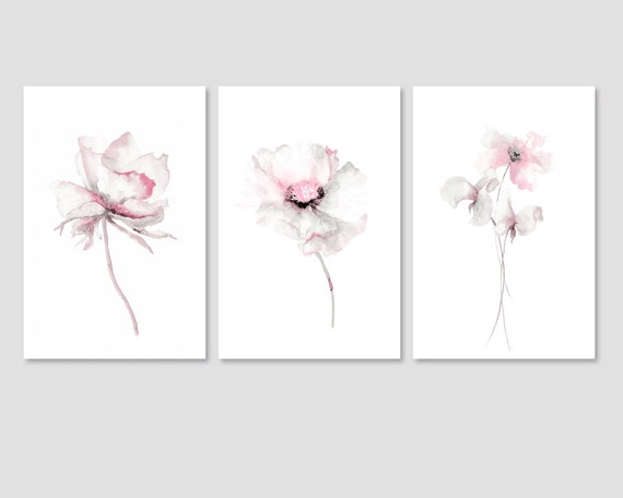 mounted ready to frame. FLORAL Watercolour painting botanical sketches FLOWER
