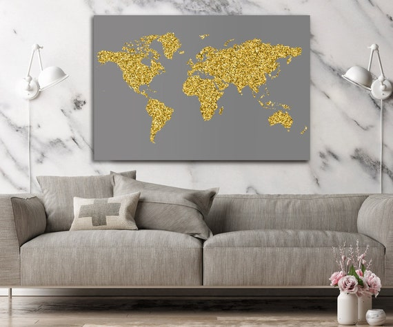 World Map Wall Art Large World Map Large Map Print Golden | Etsy