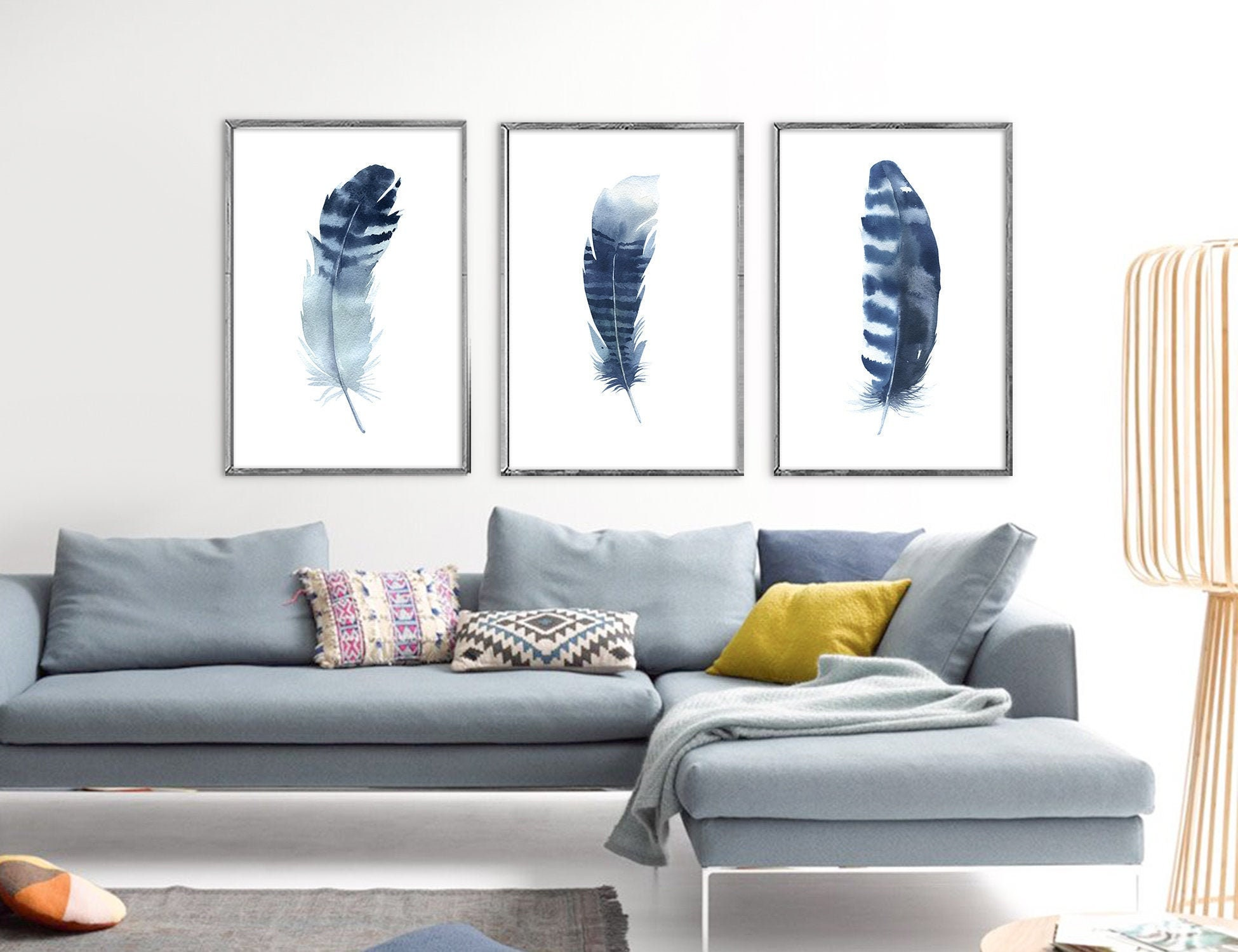 Blue Feathers Navy Blue Decor Watercolor Painting Large