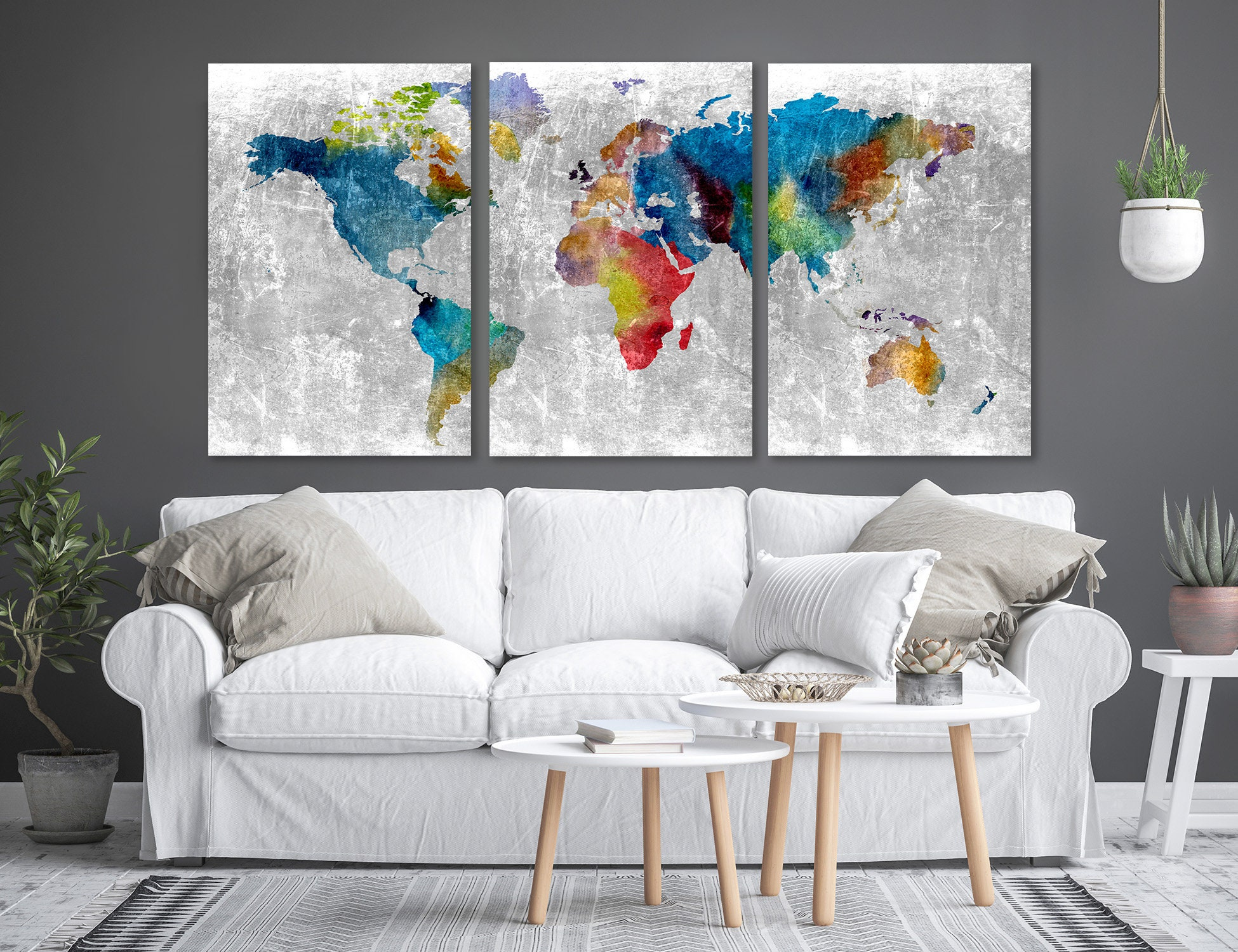 Large Map Print World Map Canvas Set Of 3 Prints Large Map | Etsy