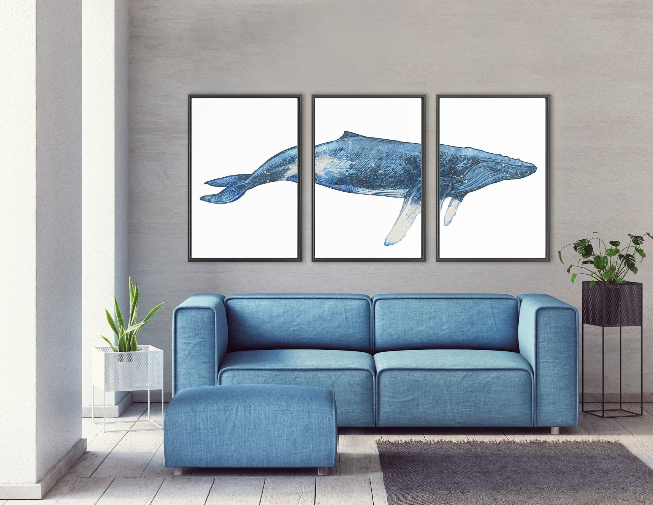 Whale Art Navy Blue Humpback Whale Watercolor Painting