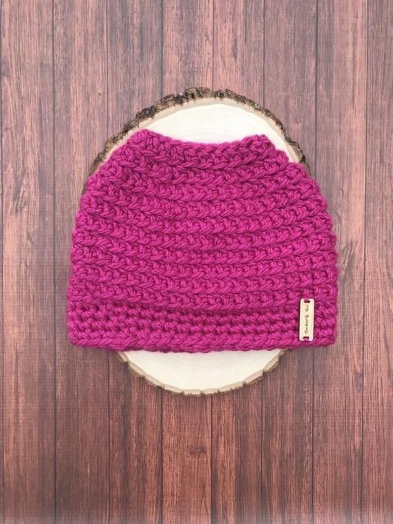 Chunky messy bun hat-messy bun hat-crochet messy bun hat-ready to ship