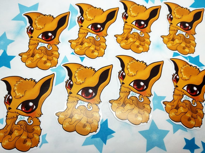 kurama fox fanart sticker etsy