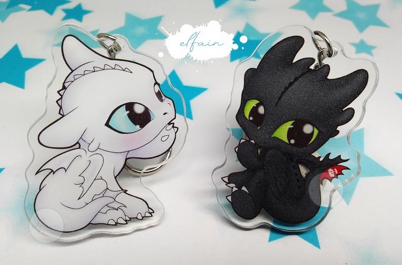 Lot Night fury and Light fury fanart Toothless keychain acrylic acrylic  acrylic keychain baby dragon