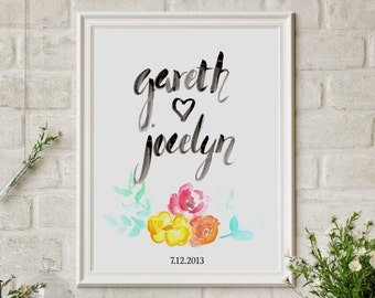 Custom Handlettered Wall Art Print with your names and wedding date
