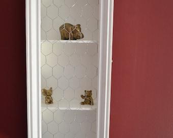 Re-purposed drawer chicken wire wall box