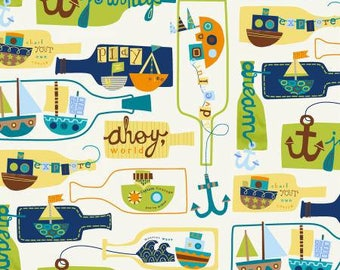 Cotton Crib Sheets & Mini crib sheets including 4moms classic plus Arms Reach Bloom Baby Nuna etc. sail boats ships message in a bottle ahoy