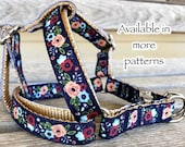 5 8 quot Shades of Blue Floral Step-In Dog Harnesses, Flower Harness, Blue Dog Harness, Girl Dog Harness, Garden Dog Harness, Small Harness