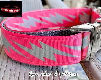 Large Breed Dog Collar Unisex Dog Harness 1 Brilliant Poppy Jacquard Dog Collar Pet Collar Pink Dog Collar Floral Dog Collar