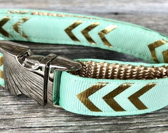 "Chevron 5/8"" Dog Collar, Chevron Dog Collar, Small Breed Dog Collar, Teal Dog Collar, Gold Dog Collar Coral, Mint Dog Collar, Blush Pink"