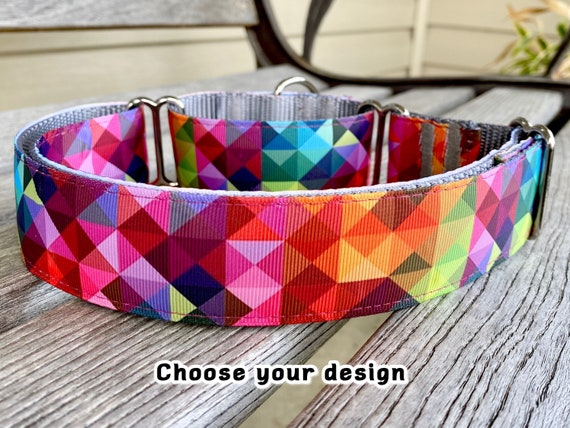 1.5 W Abstract & Ikat Martingale Whippet Dog Collar
