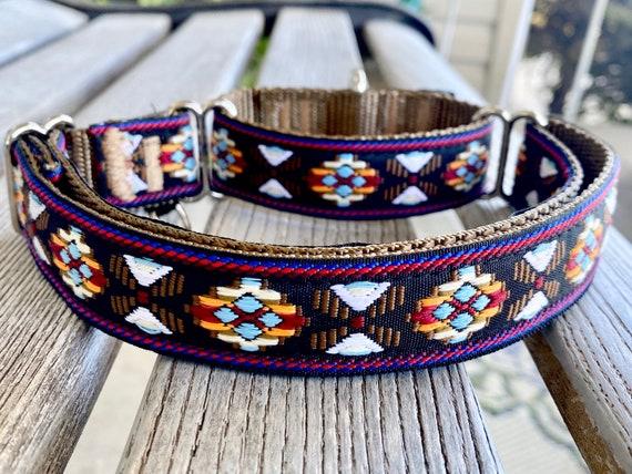 1 Aztec Jacquard Martingale Dog Collars Nylon Webbing Humane