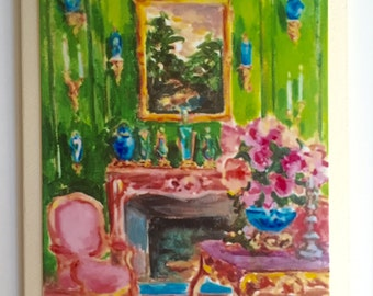 1. Green Room with Blue Vases 2. Lady with Floral Gown 3. Yosemite 4.  Dandelion Field 5. Orange House