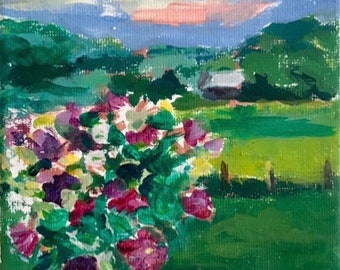 Flowers with Purple Sky