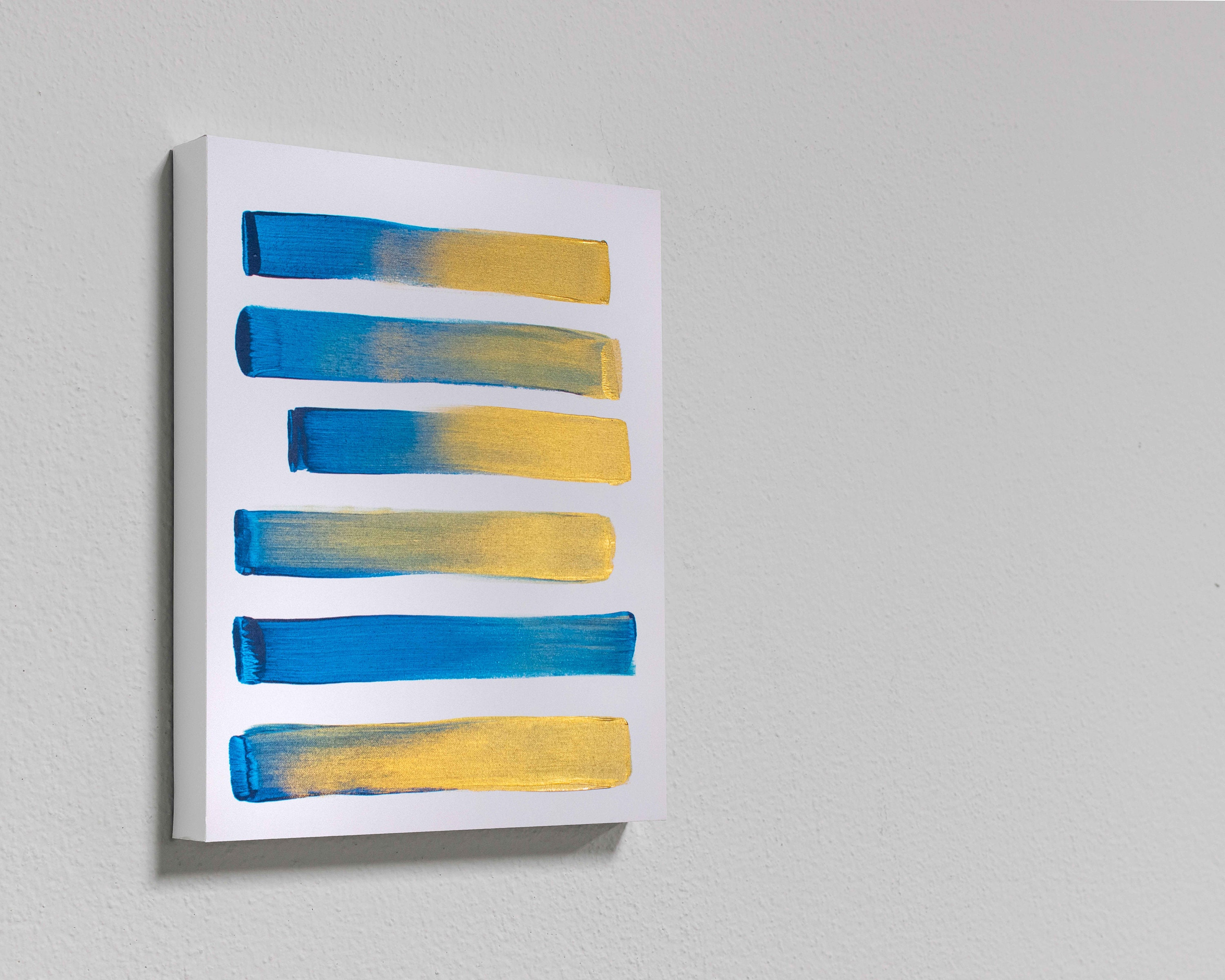 Blue and Gold Brushstrokes Abstract Painting Unique Artwork on Canvas Metallic Gold