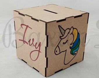 Personalised Cute Flamingo Glasses Kids Children/'s Savings Money Box Gift Idea