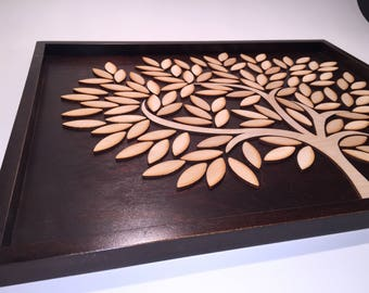 3D wooden gold book in the shape of a tree. Wooden Guestbook Alternative Tree. Remembrance tree. Wedding. It's Wedding.