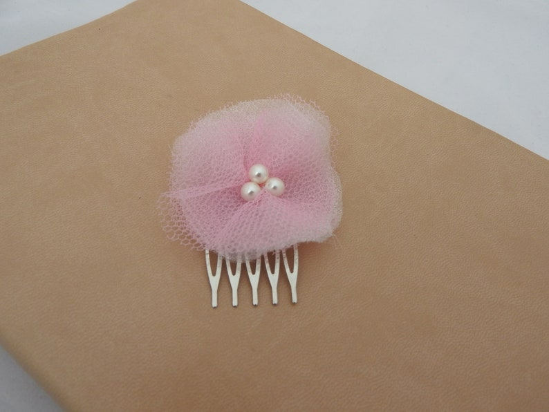 Pink net voile faux pearl wedding bridal prom flower silver comb