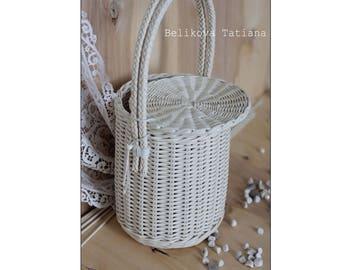 Jane Birkin Basket,Birkin Basket bag,  Handmade Bag, Summer bag, basket with a Lid,  Round Wicker Basket, Basket Purse, Round Basket,