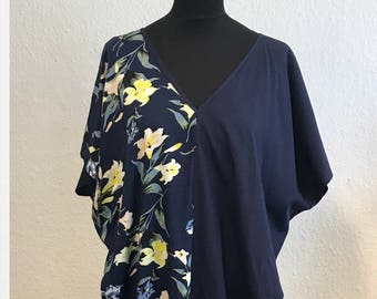 kaftan / cape dress Amy in navy blue