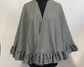 handmade black and white wool cape