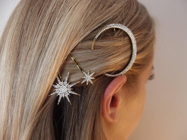 galaxy hair clips star clip moon clip rhinestone hair clips star hair clips constilation hair accessories rhinestone pins galaxy pin