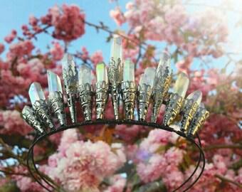 Angel aura crystal quartz crown, mermaid crown, crystal crown, wedding tiara, bridal crown/tiara, crystal quartz points,