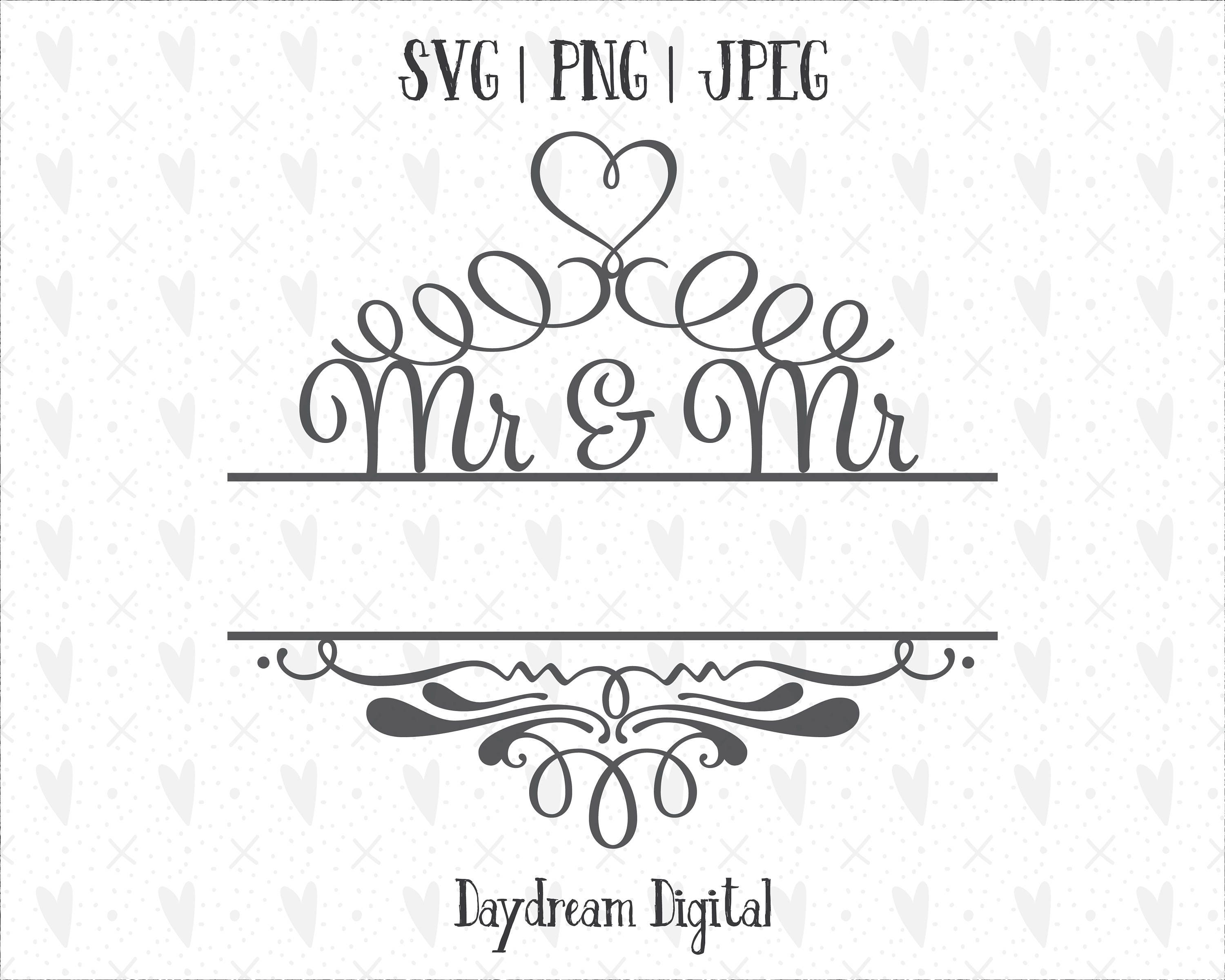 Mr and Mr Monogram Template | Name Placeholder | Decorative | Newlywed |  Married | First Christmas | Gay | LGBT | Cricut | Cutting File SVG