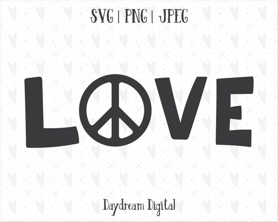 Peace Love Quote Hippy Cnd Symbol Hand Drawn Svg Etsy