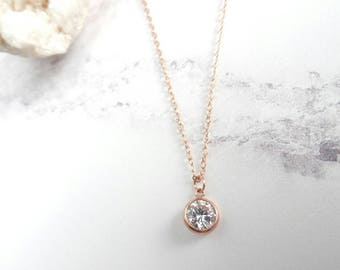 Rose gold necklace etsy rose gold filled rose gold necklace cubic zirconia pendant dainty necklace small pendant bridesmaid necklace gift for her aloadofball Image collections