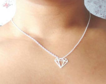 Small pendant etsy diamond necklace sterling silver small pendant diamond pendant thin chain eternity necklace dainty necklace gift for her aloadofball Image collections