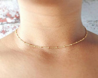 Gold Choker Necklace - Satellite Choker - Gold Filled - Rose Gold Choker - Gold Choker - Dainty Necklace - Layering Necklace - Gift for Her