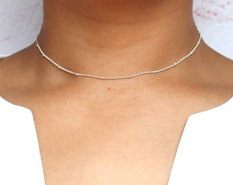 Satellite Choker - Silver Choker - Gold Filled - Gold Choker - Dainty Necklace - Layering Necklace - Gift for Her - Bridesmaid Gift