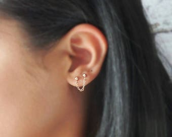 Rose Gold Studs - Chain Studs - Connector Earring - Chain Earring - Sterling Silver - Double Piercing - Punk Studs - Gift for Her
