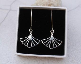 Sterling Silver Ginkgo Leaf Earrings - Drop Earrings - Art Deco Earrings - Gift for Her