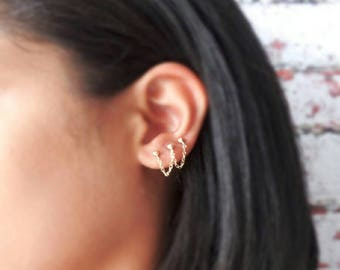 Triple Piercing Studs - Gold Filled - 3 Hole - Punk Studs - Chain Studs