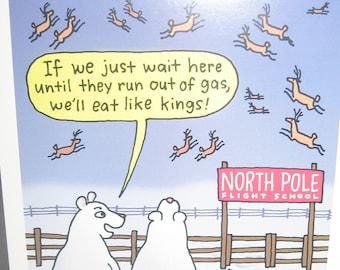 10 north pole flight school and hungry polar bears christmas cards humor hallmark shoebox greetings new with envelopes - Shoebox Christmas Cards